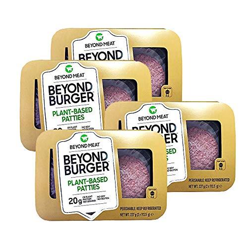 Beyond Meat Burger | Hamburguesa 100{8d44bd5e5b5f9fe5d094118d89892224fac00d276ce742f17eff54646e3f1a3f} Vegetal | Plant Based | Sin Gluten | Sin Soja | Vegano | 2 porciones (227g) (Pack de 4)