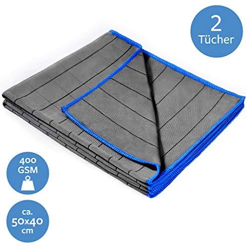 Carbigo® 2X Profi Bambus Mikrofaser Glastücher 400 GSM – Perfekt für streifenfreie Reinigung von Scheiben, Fenster, Gläser – Extrem saugstark dank weicher Mikrofaser – Fusselfreie Poliertücher 50x40cm