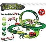 Gmsqj Dinosaur Race Track Car Toys Set, Bricolaje Montaje De Vías De Tren Flexibles Playset Regalo De Niños para 3 4 5 6 Años Niños Niñas con Dinosaurios, Autos De Carrera,146 pcs