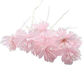 Flameer Mini Silk Artificial Flower Head with Stems for Wedding Decorations DIY Wreath Accessories Craft Fake Flowers 10pcs 3cm - Pink