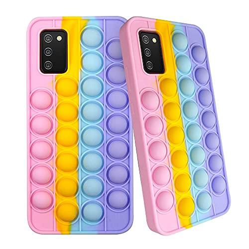 SDTEK Cover Rainbow Pop Compatible con Samsung Galaxy A02s, Cover Morbida in Silicone Multicolore Fidget Custodia