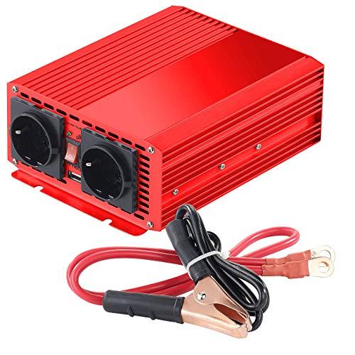 reVolt Spannungsumwandler: Kfz-Spannungswandler 700 W, 2X 230 V AC, 5 V USB, Peak 1400 W (Spannungswandler Sinus)