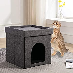 CANMOV Pet Dog Bed – 15″ Pet House Private Hideout Den for Cats & Small Dogs, Collapsible Pop Up Living Room Ottoman Footstool, Dark Gray