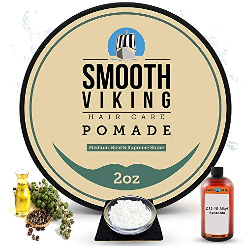 Hair Pomade for Men | Smooth Viking Pomade for Men Medium Hold & High Shine (2 Ounces) - Water Based...