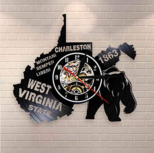Msbvf wundn Das große Siegel des Bundesstaates West Virginia Wanduhr USA State Map Charleston Montaini Sempre Liberi Schallplatte Wanduhr 30CM