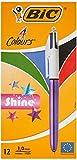 BIC Bolígrafos de 4 colores brillantes, cuerpo morado metálico, caja de 12