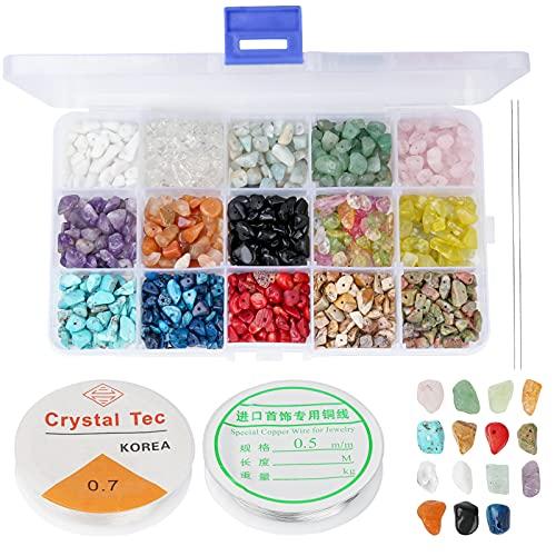 Cuentas de piedras preciosas naturales para manualidades con piedras preciosas irregulares, 15 colores, kit de cuentas de cristal para joyas, pulseras, collares, pendientes, manualidades, artesanía