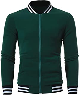 Mens College Jacket,Fashion Varsity Striped Zipper Sweater Outwear Letterman Jumper Coat Zulmaliu