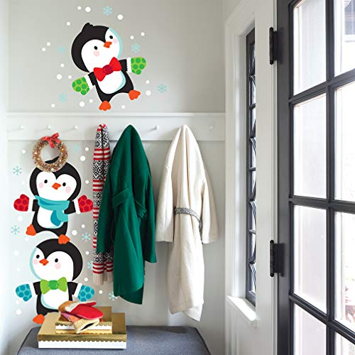 Christmas Wall Decal - Fun Stacking Penguins Holiday Wall Sticker - Winter Decorations