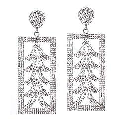 C-Silver Crystal Drop Dangle Earrings