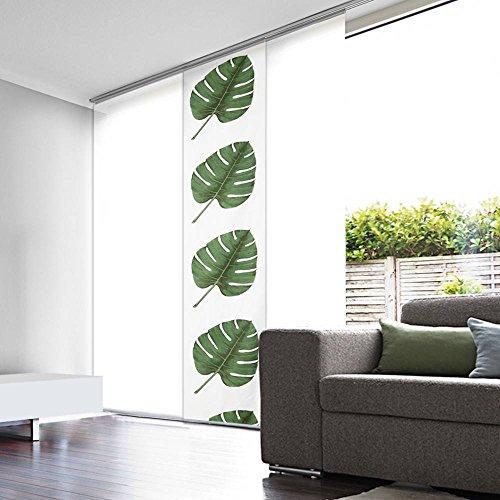 Flächenvorhang lichtdurchlässig weiß grünes Blatt–45cm breit auf 280cm hoch