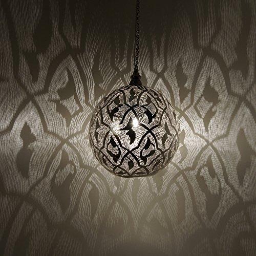 Orientalische Lampe marokkanische Hängelampe Suada D35 Silber aus Messing mit E27 Fassung | Kunsthandwerk aus Marokko | Prachtvolle Messinglampe für tolle Lichteffekte wie aus 1001 Nacht | EL2011