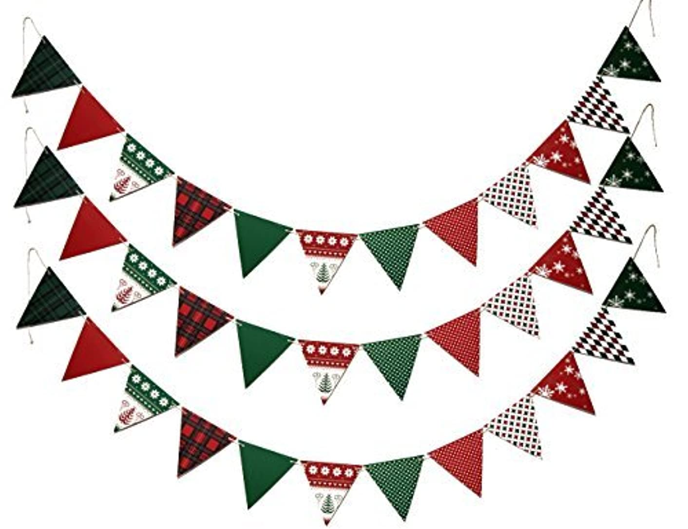 SMYLLS Merry Christmas Banner Paper Pennant Bunting Flags for Christmas Party Home Decoration,3 Pack