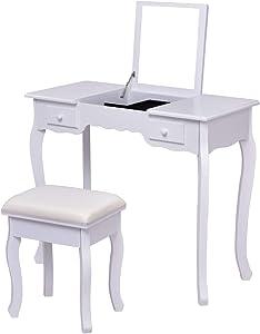 Costway Toeletta con Sgabello e Specchio Tavolino Cosmetico con Vano Contenitore e 2 cassetti, in MDF, Bianco (Bianco)