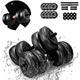 Water-Filled Dumbbells Travel Dumbbells Adjustable Water Fillable Dumbbells Set for Men/Women Hand Weight Bodybuilding Gym Exercise Arm Muscle Training Portable Exercise Equipment (Black (20-25KG))