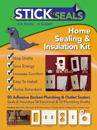 Stick 'N' Seal Adhesive Backed Plumbing and Outlet Draft Sealers. Home Sealing Kit. Save Energy and Money. Pack of 50