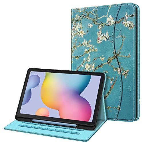Fintie Hülle für Samsung Galaxy Tab S6 Lite, Soft TPU Rückseite Gehäuse Schutzhülle mit S Pen Halter & Dokumentschlitze für Samsung Tab S6 Lite 10.4 Zoll SM-P610/ P615 2020, Mandelblüten