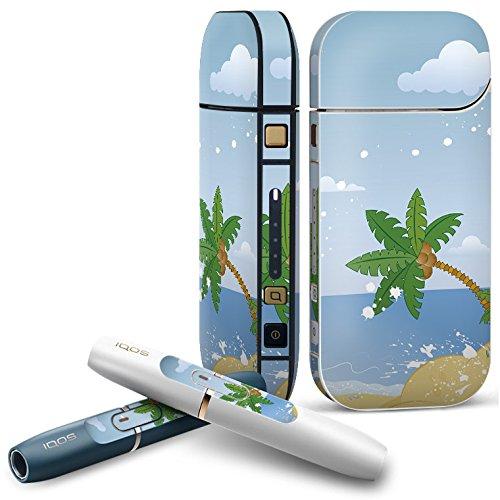 IQOS 2.4 plus 専用スキンシール COMPLETE アイコス 全面セット サイド ボタン デコ その他 ヤシの木 海 砂浜 001413