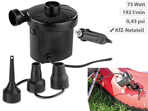 PEARL Gebläsepumpe: Elektrische Luftpumpe mit 3 Aufsätzen, für 12 V, 75 Watt (Elektronische Luftpumpe) - 2