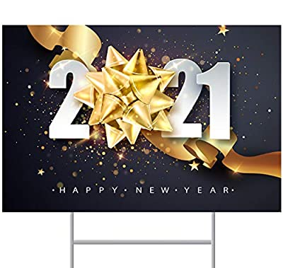 """ORMAT Happy New Year Decorations 2021 Happy New Year 2021 Yard Sign 12"""" x 18"""" Double-Sided Corrugated Plastic with Metal Stake"""