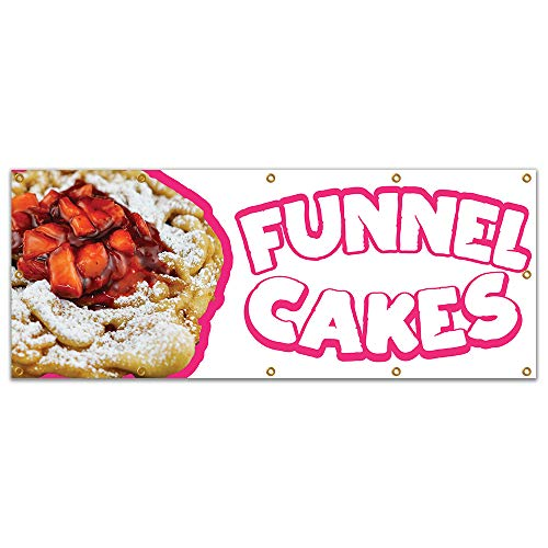 "Funnel Cakes 2 120"" Banner Concession Stand Food Truck Single Sided"