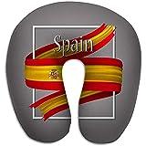Cómodo cojín en Forma de U,Almohada de Viaje Cuello de Espuma viscoelástica Bandera de España Colores Nacionales Oficiales s d Cinta Realista Signo de Rayas onduladas aisladas Icono de Gloria