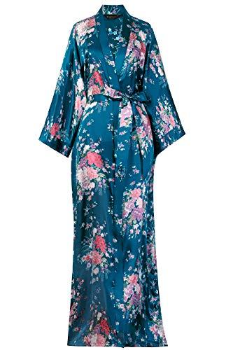 BABEYOND Kimono de Seda Vestido de Satén Kimono Pavo Real Novia Pijamas de Seda Bata de Satén 135 cm (Mar Verde)
