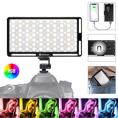 Moman RGB LED-Videoleuchte, Kamera Licht, 3000K-6500K Dimmbare Videolicht, CRI96+ Panel Fotolampe, Klein mit Magnet eingebautem Akku, als Powerbank, Aluminium Dauerlicht für DSLR Sony Canon Nikon