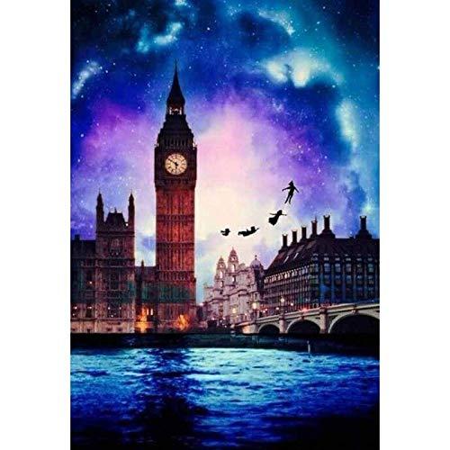 BJWQTY Peter Pan Dibujos Animados Punto de Cruz 5D Diamante Pintura/Bordado Mosaico decoración