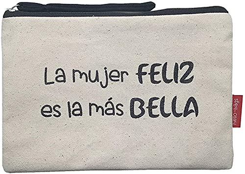 Hello-Bags Bolso Neceser/Cartera de Mano. Algodón 100%. Blanco. con Cremallera y Forro Interior. 23 * 15,5 cm. Incluye sobre Kraft de Regalo.