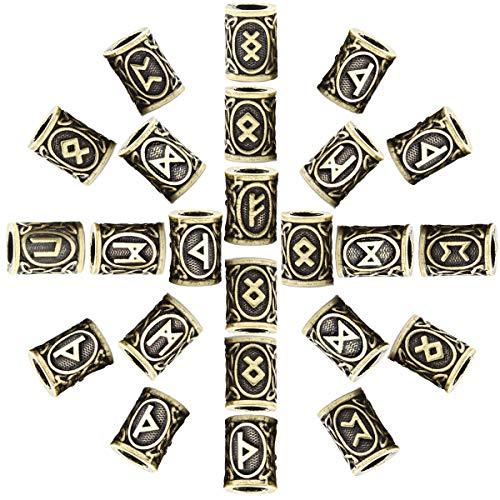 Mcree 24 Pcs Antique Viking Norse Runes Silver Norse Charm Findings for Bracelet Pendant Necklace Beard Dreadlocks Hair DIY Bracelet Jewelry Pendants (Bronze, 24 Pcs)