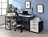Knocbel Industrial L-Shaped Computer Desk with Multi Storage Shelves, Home Office Workstation Writing Table with X-Shaped Metal Support, 47' L x 35' W x 33' H (Antique White and Black)