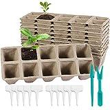 10 macetas de fibra biodegradables, macetas de cultivo biodegradables, bandejas de semillas biodegradables, con etiqueta y set, macetas de semillas para flor, planta suculentable.