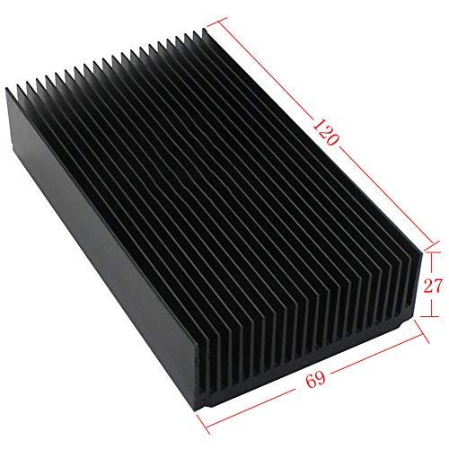 tatoko Black Aluminum Heatsink, Aluminium Heat Diffusion Cooling Fin 120 x 69 x 27mm/ 4.72