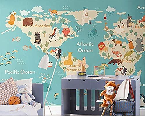 Cartoon Animal World Map Animal Series Personalizar 3D Wallpaper Decoración de la pared Art Hd Imprimir Poster papel pintado pared dormitorio de estar sala de estar fondo No tejido-400cm×280cm