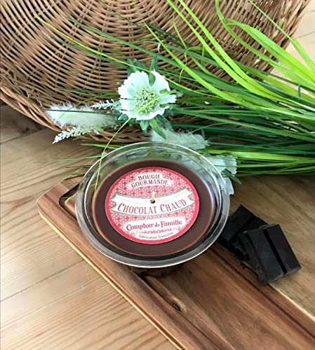 Comptoir de Famille Bougie Chocolat Chaud Verre Transparent 35 x 23,5 x 9 cm
