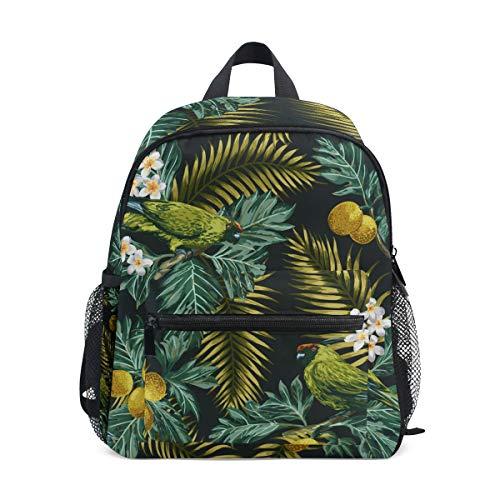 Schulranzen Vorschulrucksack Papageien und Pflanzen Kindergarten Kindergarten Rucksack Leichter Büchertasche für Mädchen Jungen Kleinkind Alter 3-8 Kinder
