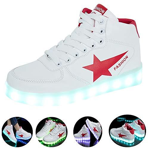 Temptation at dusk zy Unisex Erwachsene High-Top LED Schuhe Sportschuhe USB Lade Outdoor Leichtathletik Beiläufige Paare Schuhe Leucht Sneaker FürHigh-Top-Turnschuhe,Größe (35-44) Red-42
