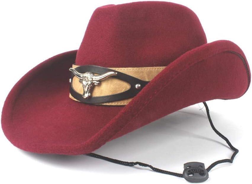 L.W.SUSL Women Men Fashion Wool Western Cowboy Hat with Cow Head Band Pop Fedora Hat Wide Brim Hat Size v56-58CM (Color : Wine red, Size : 56-58)