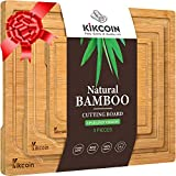 Bamboo Cutting Board, (3-Piece Set) Kitchen Chopping Board with Juice Groove and Handles Heavy Duty Serving Tray Organic Wood Butcher Block and Wooden Carving Board,Light Brown Kikcoin