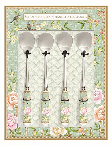 White//Multicoloured R2S 969BLOC Set of 4 Porcelain Handled Pastry Forks with Floral Design 21.5/x 12/x 3/cm