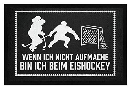 shirt-o-magic Eishockey-Fan: .bin ich beim Eishockey - Fußmatte mit Gummirand -40cm x 60cm-Schwarz
