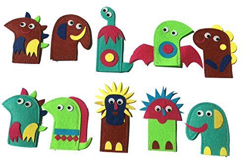 10pcs Dinosaur Handmade Finger Puppets Set for Children Toy Kids Present Gift Multicolor