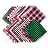 ZYP 20 Pcs Christmas Cotton Fabric Squares, 10 x 10 Inch Christmas Plaid Buffalo Check Fabric Precut Scraps for Christmas DIY Craft Sewing Quilting