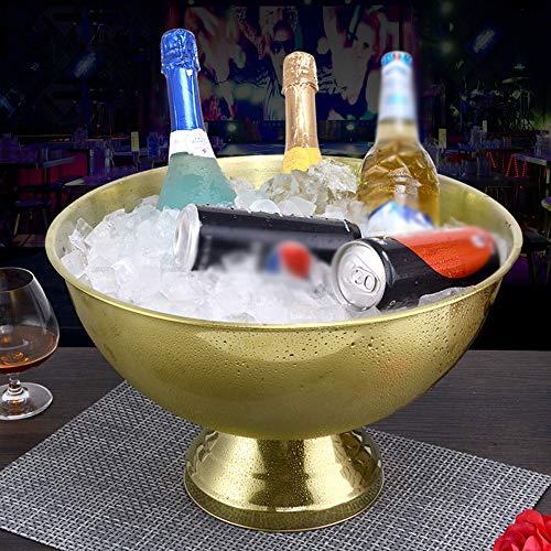 HWZGXWL Edelstahl Champagner-Becken, Binzhi, Fass, Wein, Wein, Eiskübel, Bar, KTV, Eiskübel (Color : Gold)
