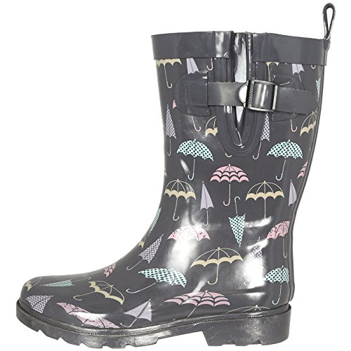 Capelli New York Ladies Umbrella Printed Mid- Calf Rain Boot Grey Combo 7