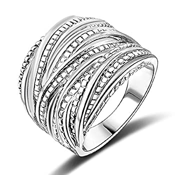 Mytys Fashion Silver Intertwined Statement Ring Band Rings for Women Men 18mm Wide  Size 10