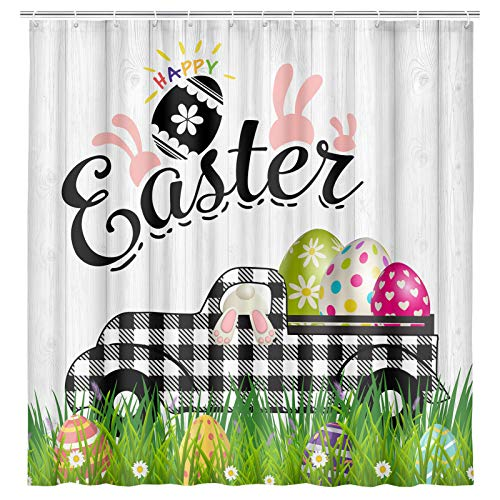 MERCHR Easter Shower Curtain, Rustic Black and White Buffalo Plaid Truck with Cute Easter Eggs and Bunny Shower Curtains, Retro Fabric Shower Curtain for Bathroom, 69x70inch