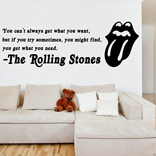 Paroles de The Rolling Stones en autocollant mural, décalcomanie, citation, transfert mural, pour chambre à coucher, Vinyle, Noir , -MEDIUM -SIZE 90cm x 45cm