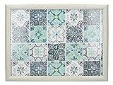 Creative Tops - Bandeja acolchada para regazo (44 x 34 cm), diseño de baldosas, color blanco y turquesa